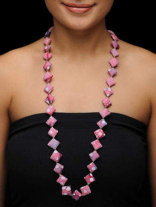 Pink Batik-printed Fabric Necklace