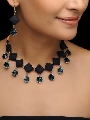 Black Batik-printed Fabric Necklace with a Pair of Earrings (Set of 2)