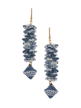 Blue-White Kalamkari-printed Fabric Earrings