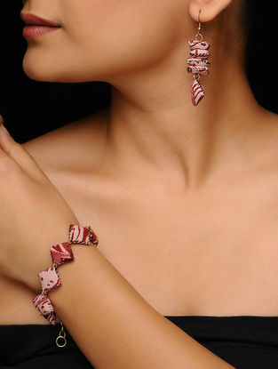 Maroon-Pink Kalamkari-printed Fabric Earrings with Bracelet (Set of 2)