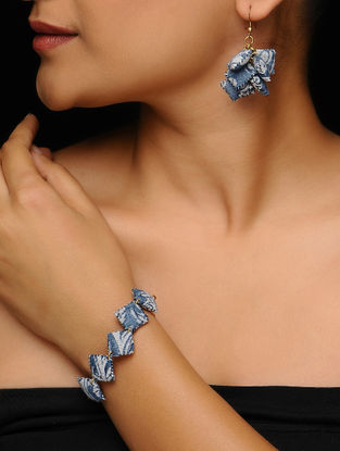 Blue-Black Kalamkari-printed Fabric Earrings with Bracelet (Set of 2)