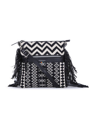 Black-Ivory Handcrafted Cotton Jacquard Sling Bag