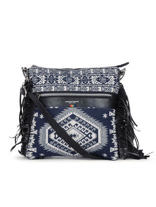 Indigo-Ivory Handcrafted Cotton Jacquard Sling Bag