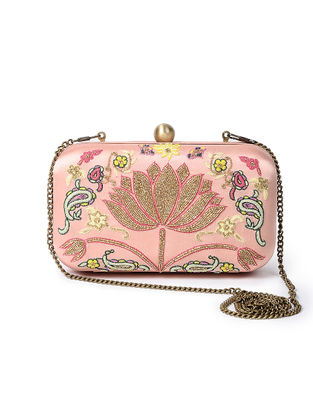 Pink-Multicolored Handcrafted Satin Clutch