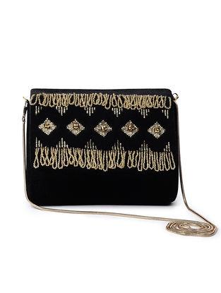 Black-Golden Handcrafted Velvet Sling Bag