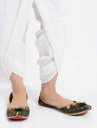 Green Ajrakh-Printed Cotton and Leather Jutti