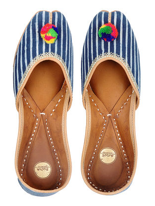 Indigo Bagru-printed Hand-stitched Cotton and Leather Juttis with Pom-poms