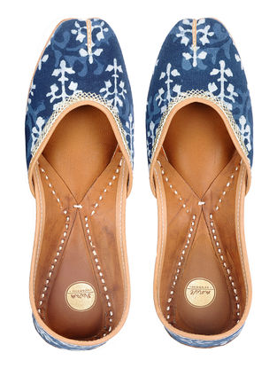 Indigo Dabu-printed Hand-stitched Cotton and Leather Juttis