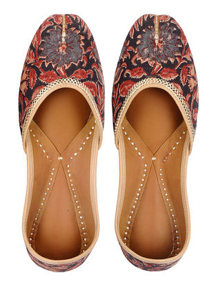 Red-Black Block-printed Hand-stitched Cotton and Leather Juttis