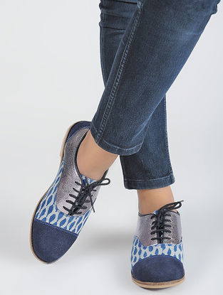Indigo-Silver Dabu-printed Cotton and Leather Oxford Shoes