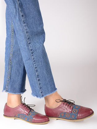Cherry-Indigo Ajrakh-printed Cotton and Leather Oxford Shoes