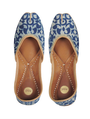 Indigo Bagru-printed Hand-stitched Cotton and Leather Juttis