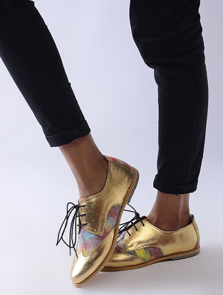 Golden-Multicolored Handcrafted Woven Cotton and Leather Oxford Shoes for Women