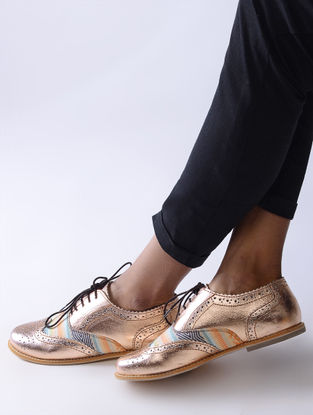 Rose Gold-Multicolored Handcrafted Ikat Cotton and Leather Oxford Shoes for Women