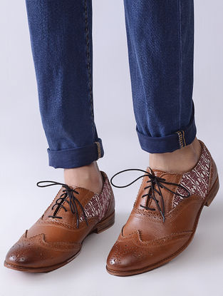 Tan Handcrafted Woven Cotton and Leather Oxford Shoes for Men