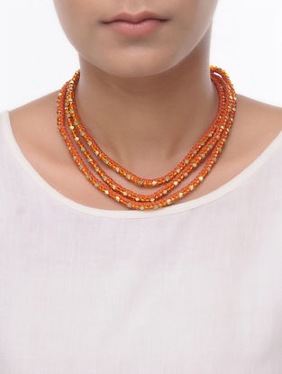 Orange Thread Brass Necklace