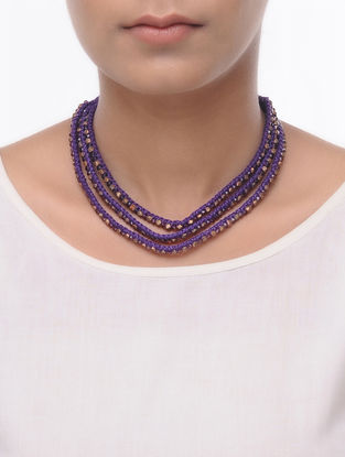 Purple Thread Brass Necklace