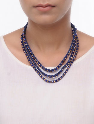 Blue Thread Brass Necklace