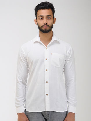 White Khadi Cotton Full Sleeve Shirt