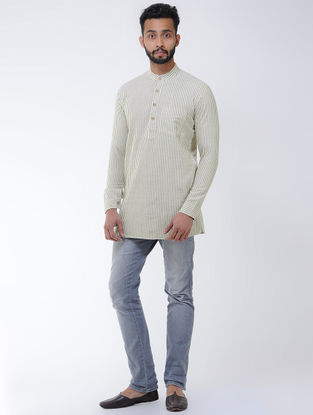 Beige-Green Khadi Cotton Full Sleeve Shirt with Mandarin Collar