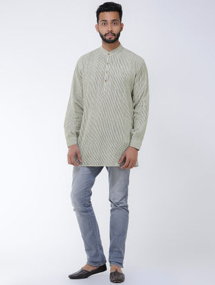Beige-Grey Khadi Cotton Full Sleeve Shirt with Mandarin Collar