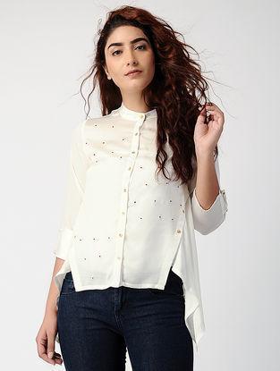 Ivory Satin-modal Shirt with Asymmetrical Hem