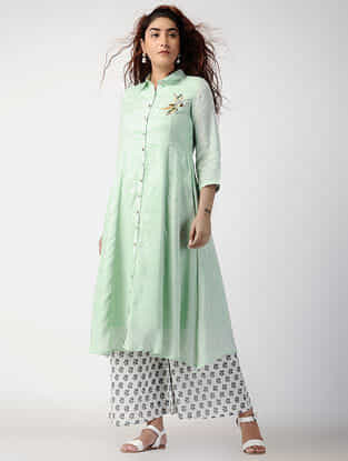 Green Button-down Cotton-silk Kurta