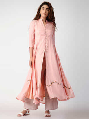 Pink Embroidered Cotton-silk Kurta with Front Slit
