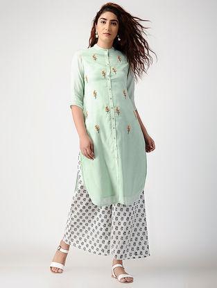 Green Embroidered Cotton-silk kurta