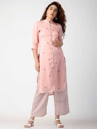 Pink Embroidered Cotton-silk Kurta