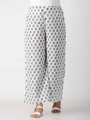 Grey-White Tie-up Waist Cotton Pants