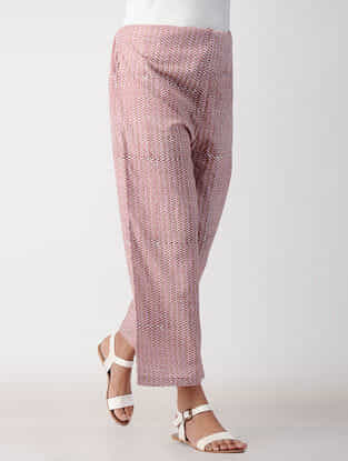 Pink-White Tie-up Waist Cotton Pants