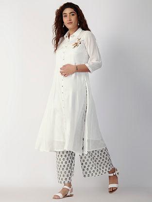 White Button-down Cotton-silk Kurta