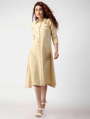 Beige Button-down Cotton-silk Dress