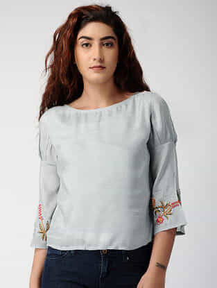 Grey South-cotton Top with Embroidered Sleeves