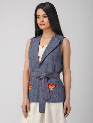 Blue Phulkari Handwoven Khadi Jacket