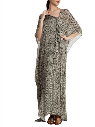 Black-White Chiffon Kaftan with Tassels