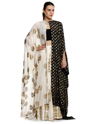 Black-White Printed Crepe Skirt with Blouse and Cape (Set of 3)
