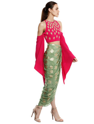 Pink-Green Printed Crepe Skirt with Top (Set of 2)