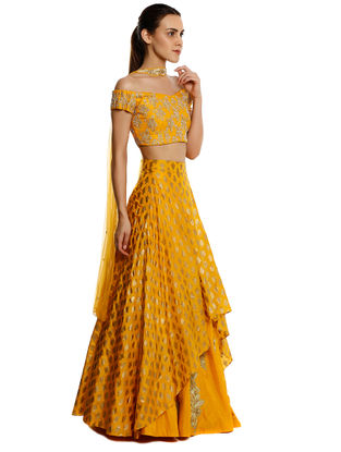 Yellow Embroidered Silk-Crepe Lehenga with Blouse and Dupatta (Set of 3)