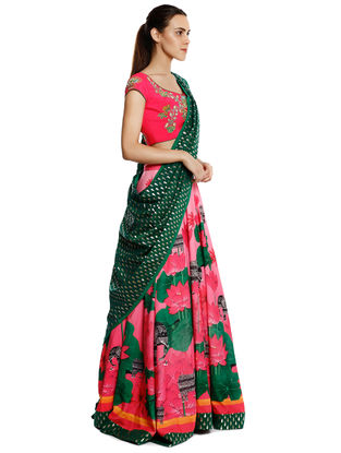 Pink-Green Embroidered Crepe Lehenga with Blouse and Dupatta (Set of 3)