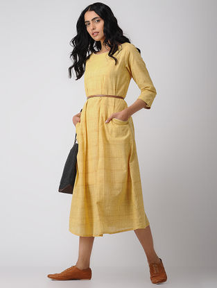 Yellow Cotton Dress with Pockets