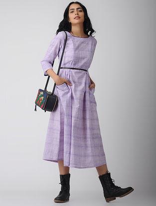 Purple Cotton Dress with Pockets