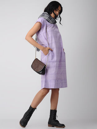 Purple Cotton Dress with Pockets