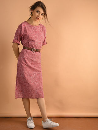 Red Printed Cotton Dress with Pockets