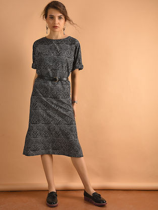 Black Printed Cotton Dress with Pockets