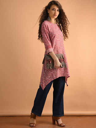 Red Printed Cotton Tunic with Pockets