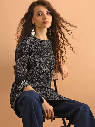 Black Printed Cotton Tunic with Pockets