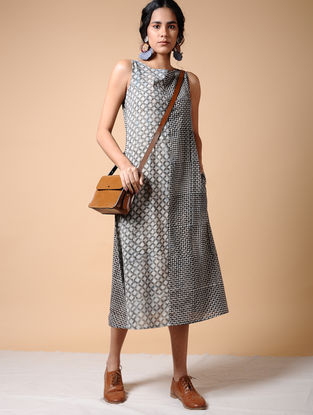 Indigo-Black Dabu-printed Cotton Dress with Pockets