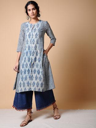 Indigo Dabu-printed Cotton Kurta with Pockets